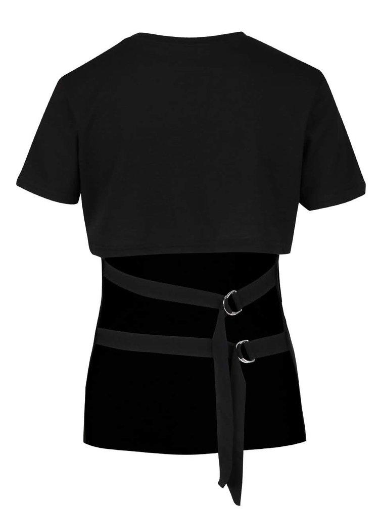 Černé dámské tričko s přezkami Cheap Monday Row