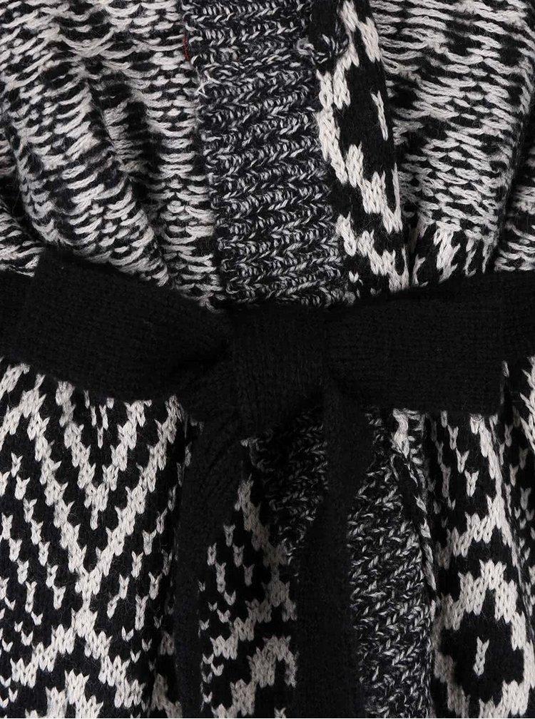 Krémovo-černý vzorovaný cardigan se zavazováním VERO MODA Velvet