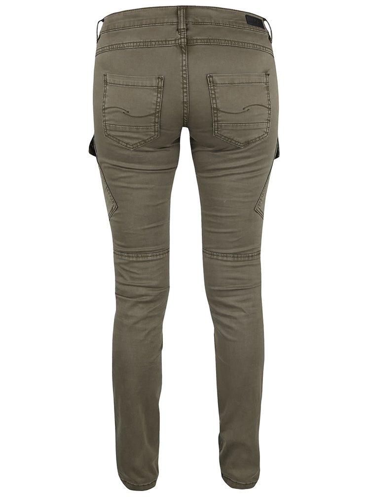 Khaki dámské kalhoty s kapsami QS by s.Oliver