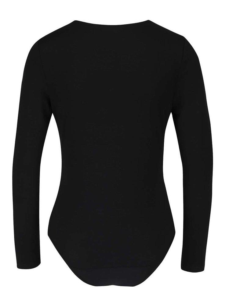 Čierne šnurovacie body s dlhým rukávom Haily´s Leah
