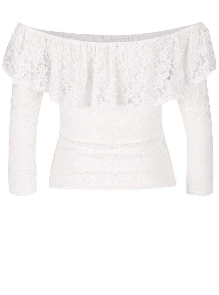 Bluză din dantelă Haily´s Camilla cu umeri goi albă