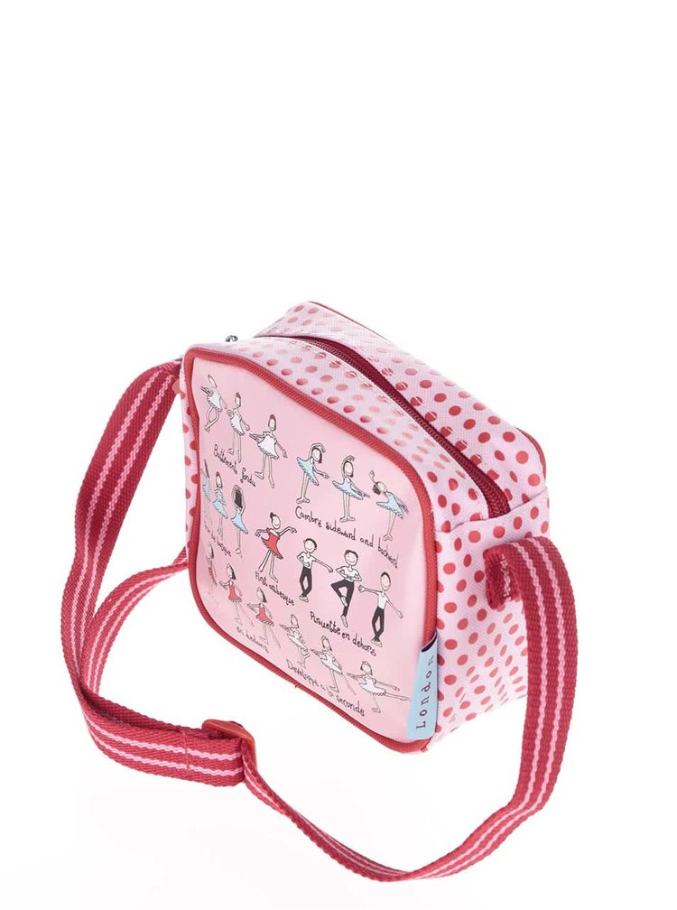 Geanta rosu-roz Tyrrell Katz Ballet crossbody pentru fete