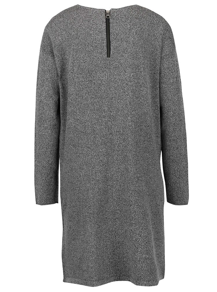 Šedé dámské žíhané svetrové šaty s kapsami QS by s.Oliver