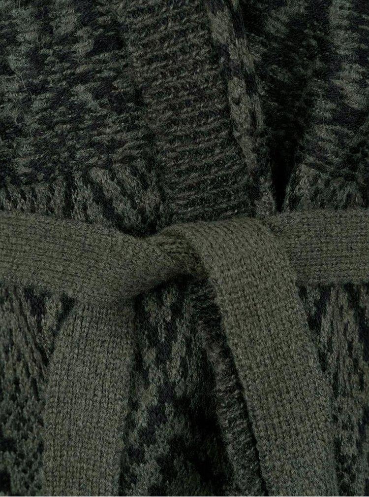 Tmavě zelený vzorovaný cardigan se zavazováním VERO MODA Velvet