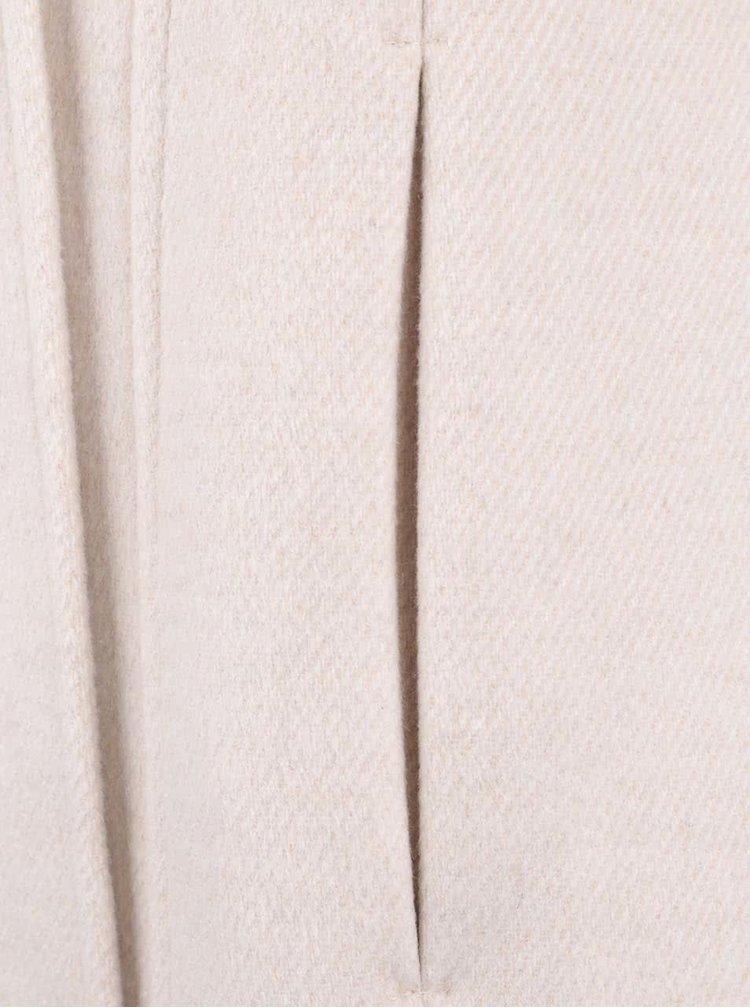 Béžový kabát s opaskom a umelým kožúškom Miss Selfridge