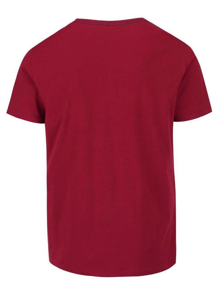 Vínové pánské triko s hnědým potiskem s.Oliver