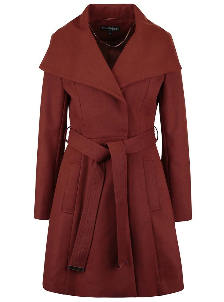Tehlový kabát s opaskom Miss Selfridge