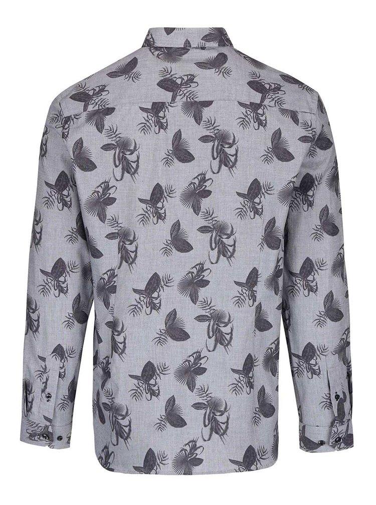 Camasa gri Burton Menswear London cu imprimeu floral