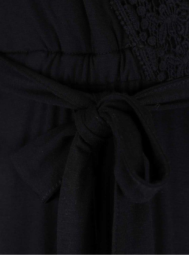 Černý overal s krajkovým překládaným dekoltem Miss Selfridge