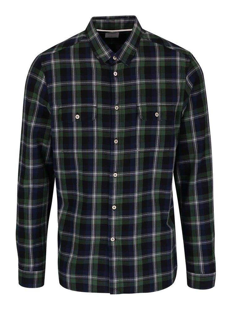 Modro-zelená kockovaná košeľa Burton Menswear London