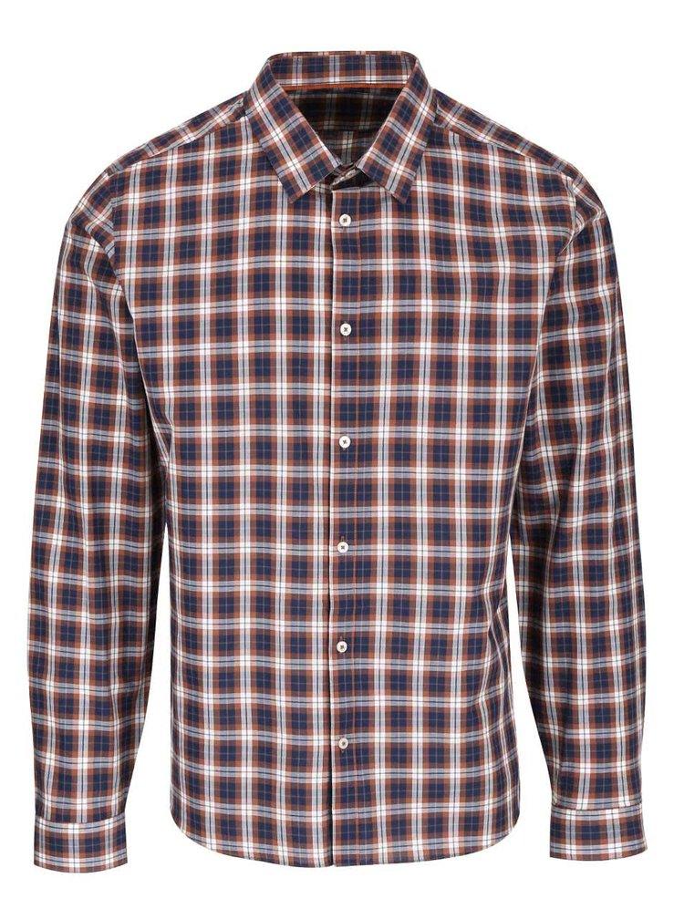 Hnědo-modrá kostkovaná košile Burton Menswear London