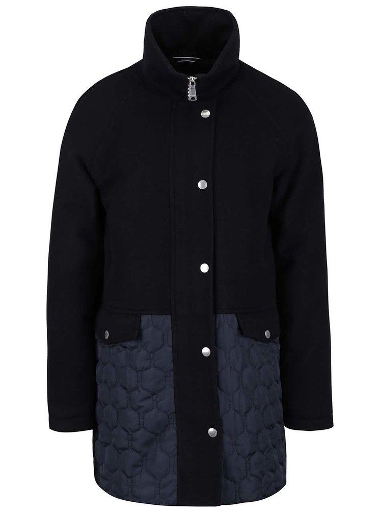 Tmavě modrý vlněný dámský kabát GANT