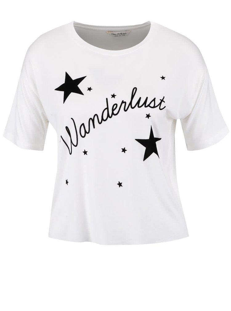 Krémové volnější kratší tričko s potiskem Miss Selfridge