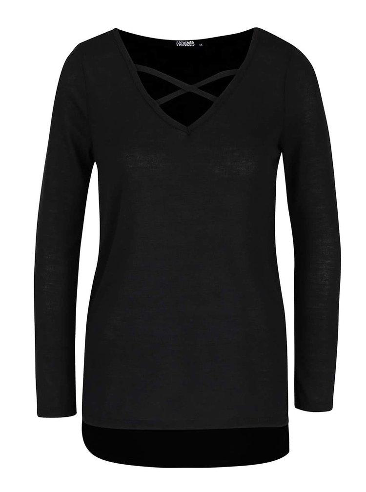 Čierne tričko s pásikmi v dekolte s dlhým rukávom Haily´s Kira