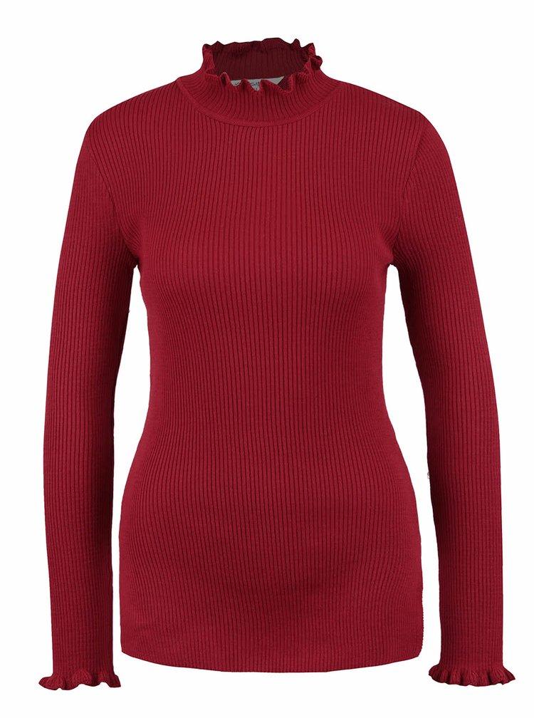 Červený žebrovaný svetr se stojáčkem Miss Selfridge