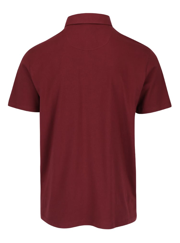 Vínové vzorované polo triko Burton Menswear London