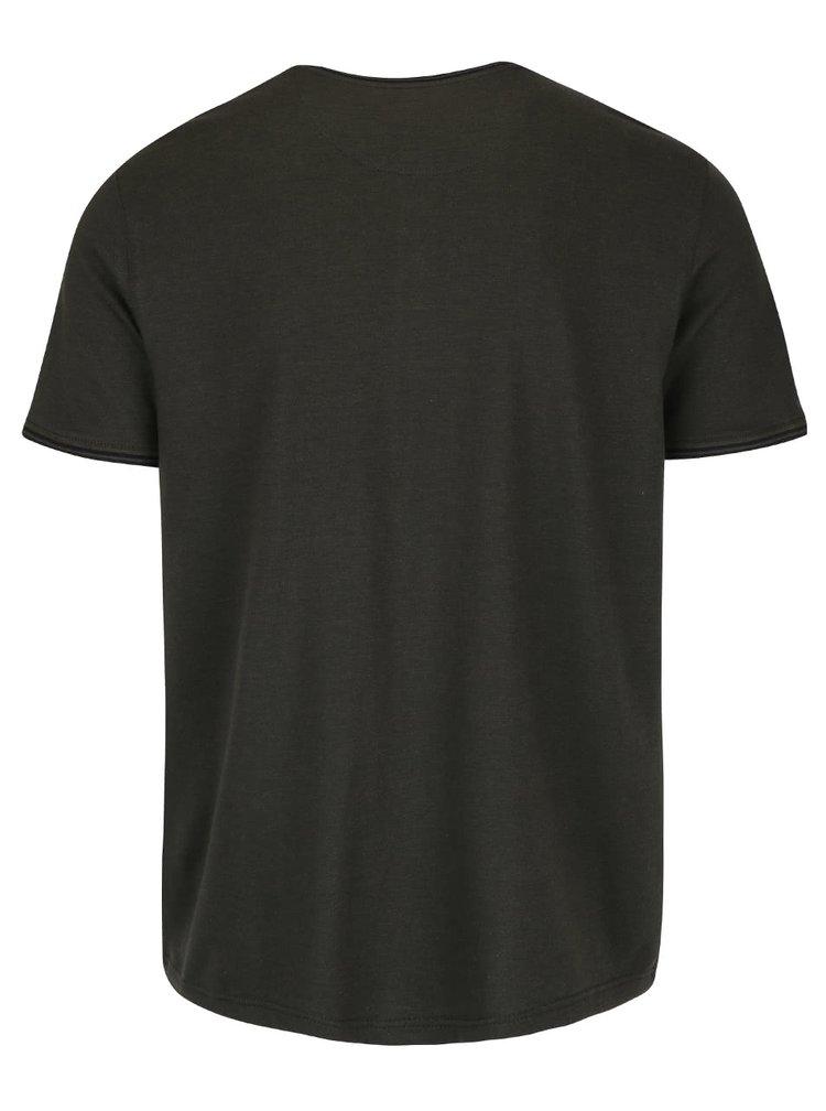 Zelené triko s knoflíky Burton Menswear London