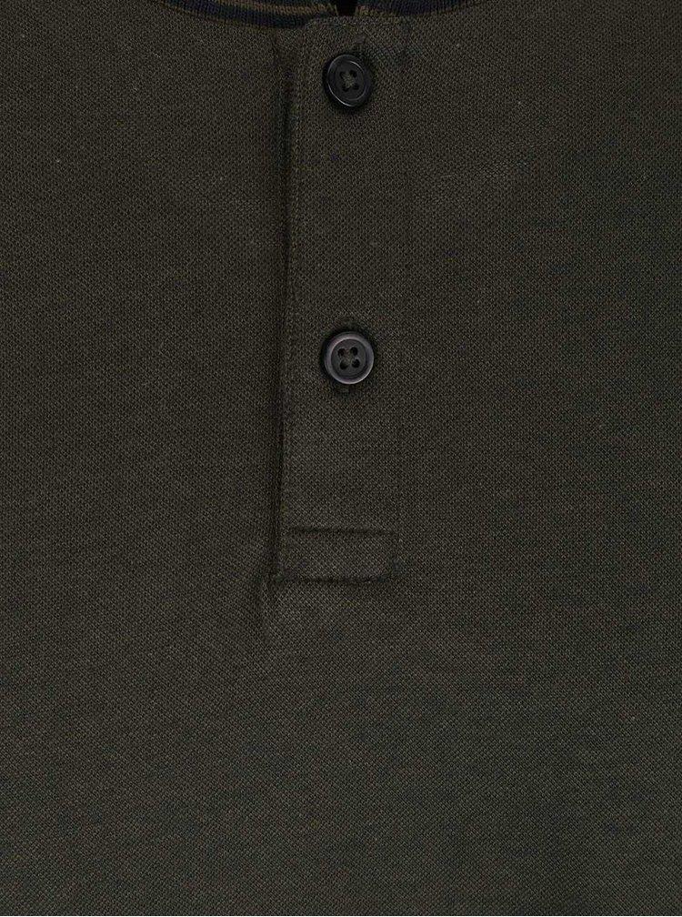Zelené tričko s gombíkmi Burton Menswear London