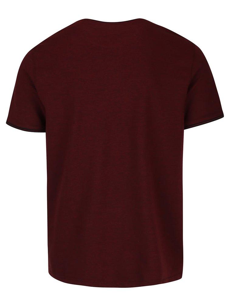 Vínové triko s knoflíky Burton Menswear London