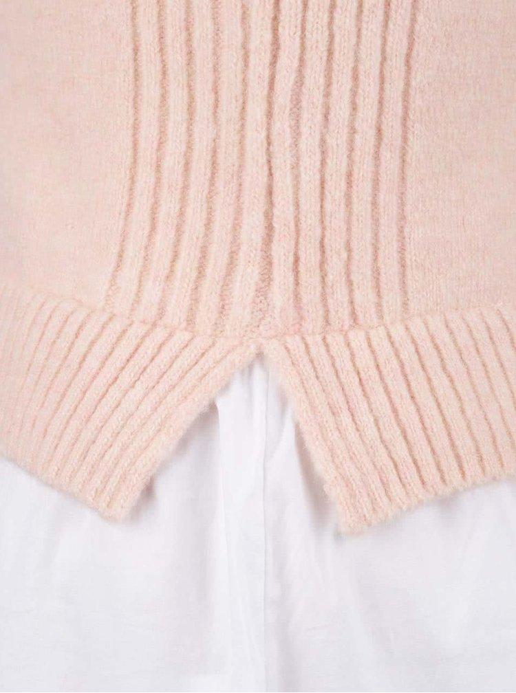 Meruňková žíhaná vesta s všitou halenkou bez rukávů Miss Selfridge