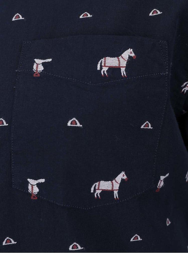 Tmavě modrá dámská košile s potiskem koní GANT
