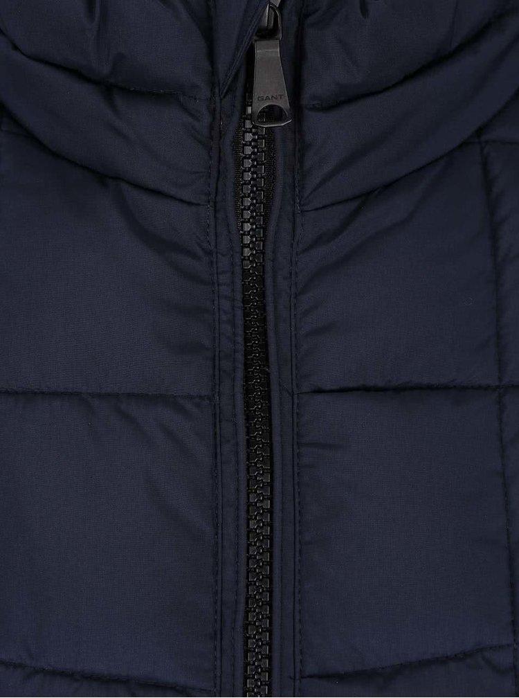 Tmavomodrá pánska prešívaná bunda na zips GANT