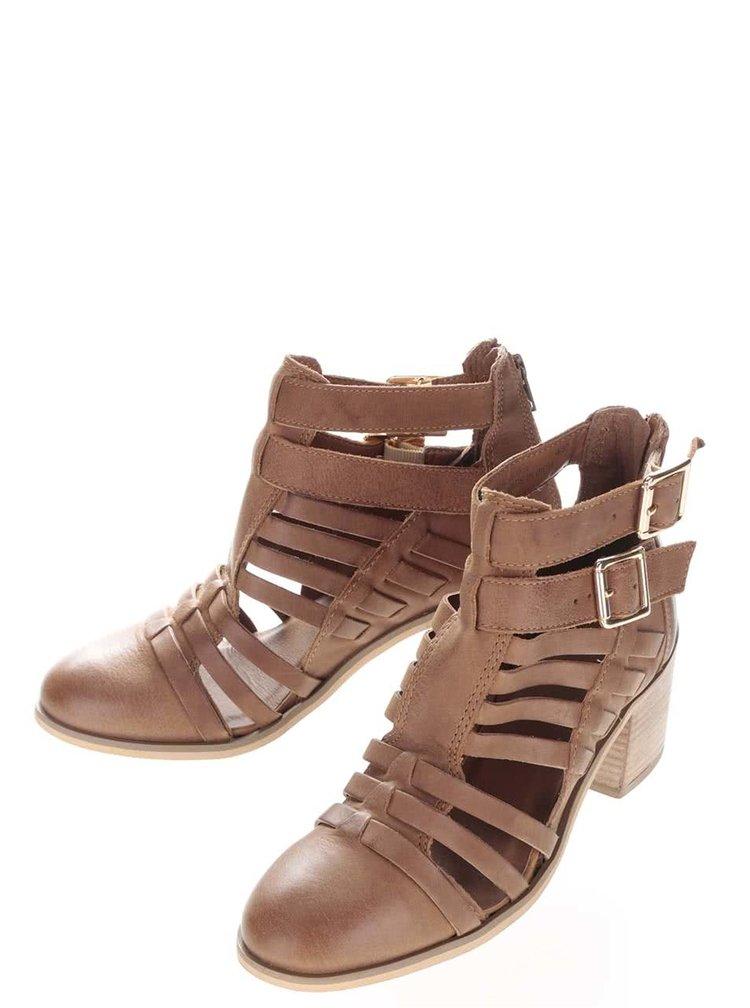 Hnedé kožené remienkové členkové topánky na podpätku Miss Selfridge
