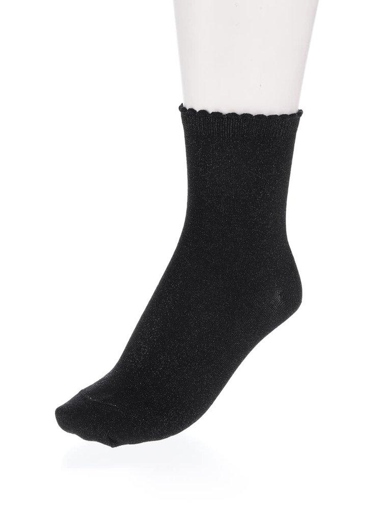 Súprava dvoch párov čiernych trblietavých ponožiek Pieces Sebby