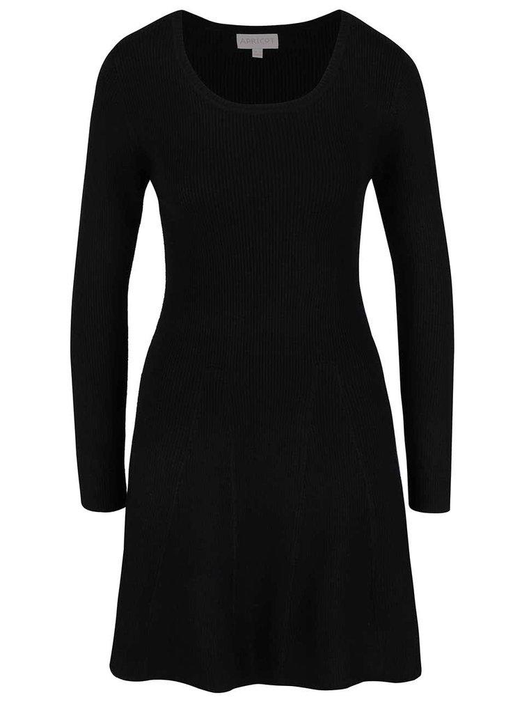 Čierne úpletové šaty s dlhým rukávom Apricot