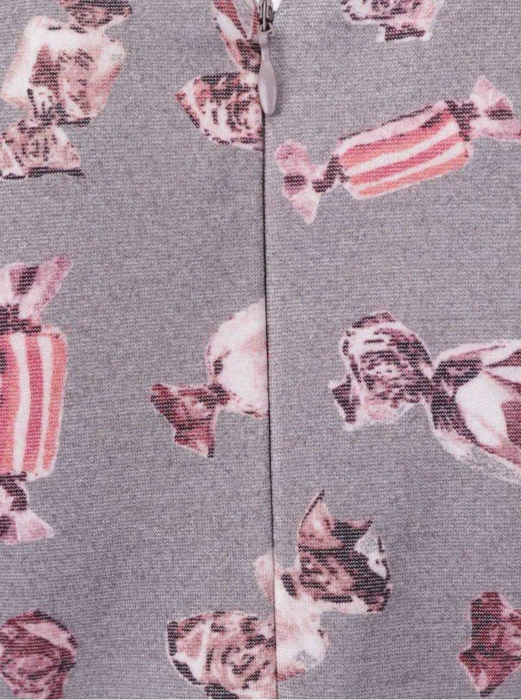 Sivé dievčenské šaty s potlačou cuktríkov North Pole Kids
