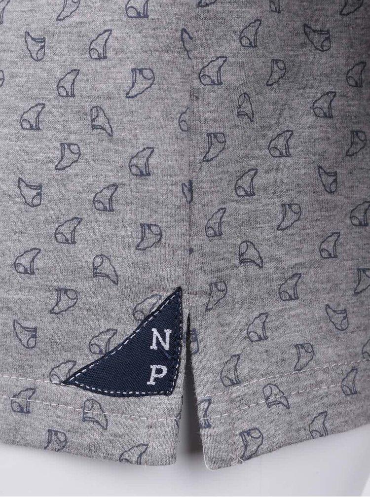 Šedé klučičí vzorované polo triko s dlouhým rukávem North Pole Kids