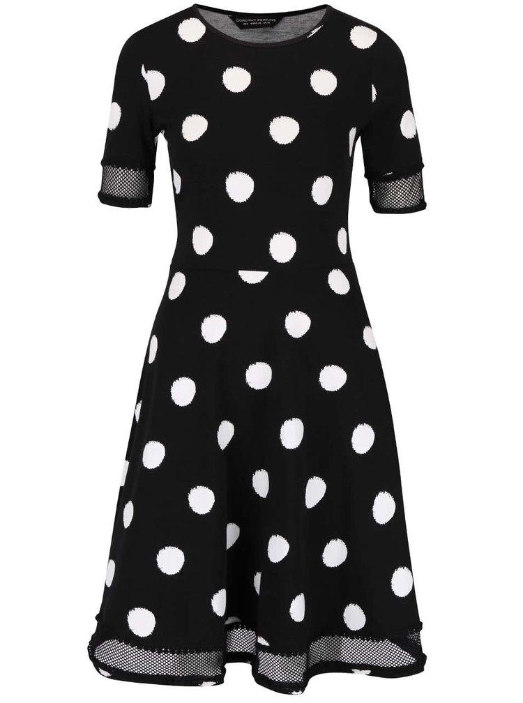 Čierne šaty s bielymi bodkami Dorothy Perkins