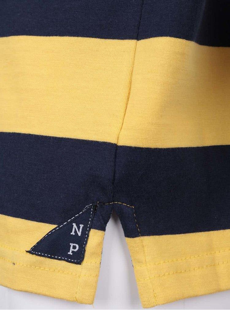 Modro-žltá chlapčenská pruhovaná polokošeľa s dlhým rukávom North Pole Kids