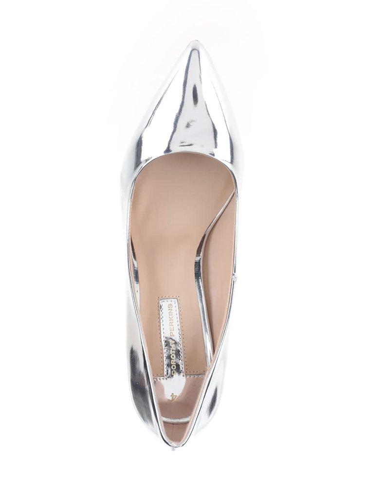 Lesklé lodičky ve stříbrné barvě Dorothy Perkins