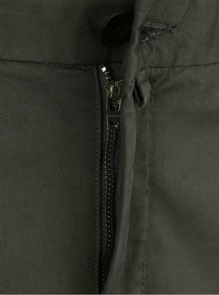 Zelenošedé pánské slim chinos kalhoty GANT