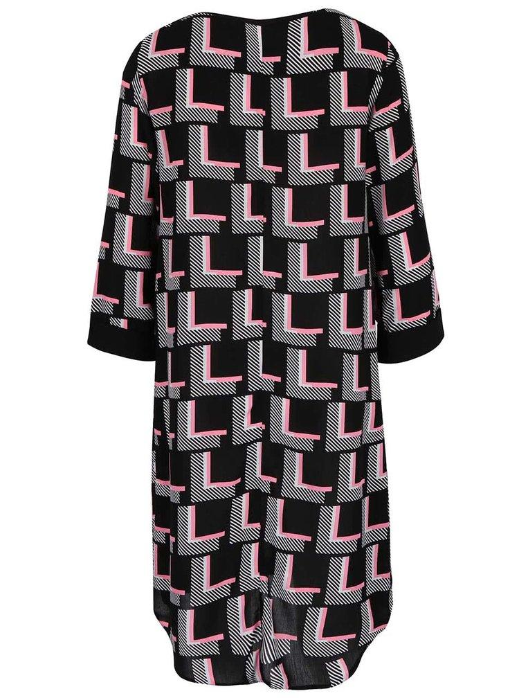 Ružovo-čierne vzorované šaty s 3/4 rukávmi Dorothy Perkins