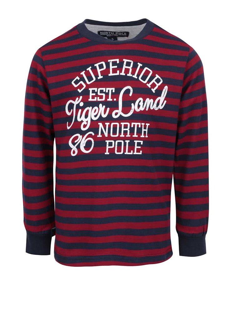 Modro-červené klučičí pruhované triko s dlouhým rukávem North Pole Kids