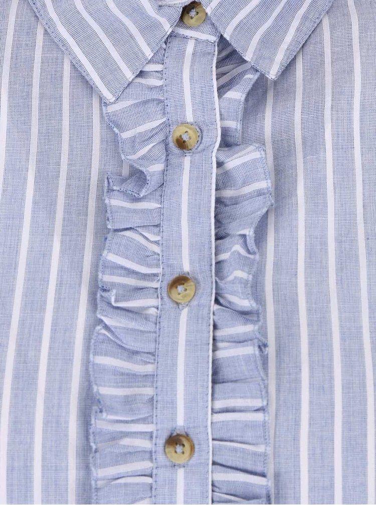 Svetlomodrá pruhovaná košeľa s volánmi Dorothy Perkins