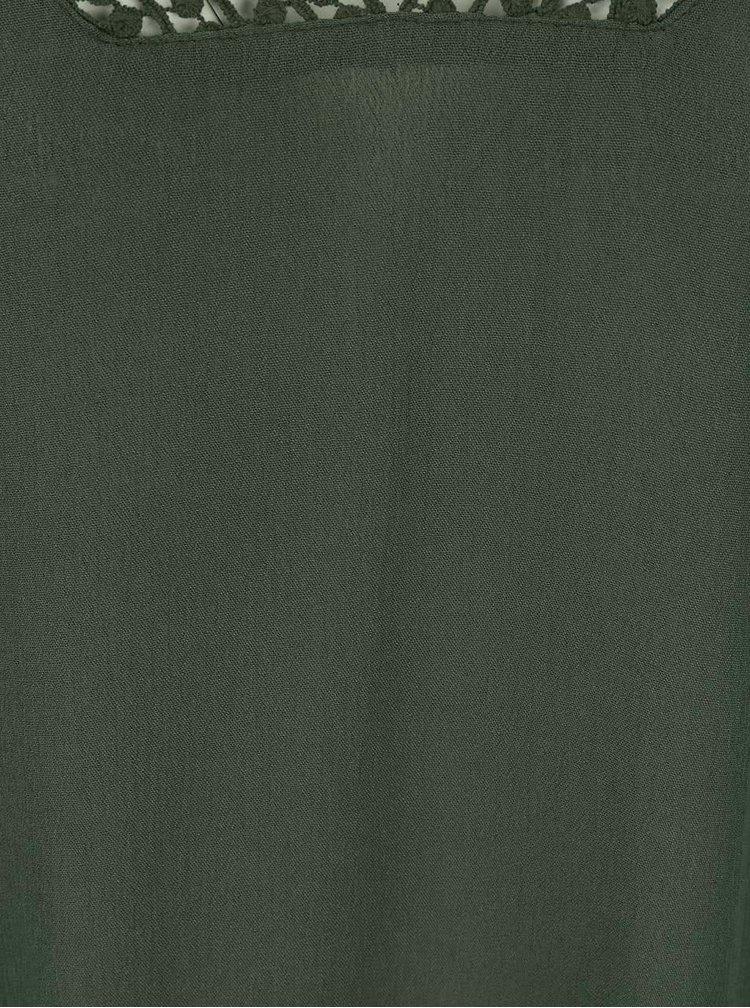 Khaki halenka s krajkovým výstřihem Haily´s Cathy