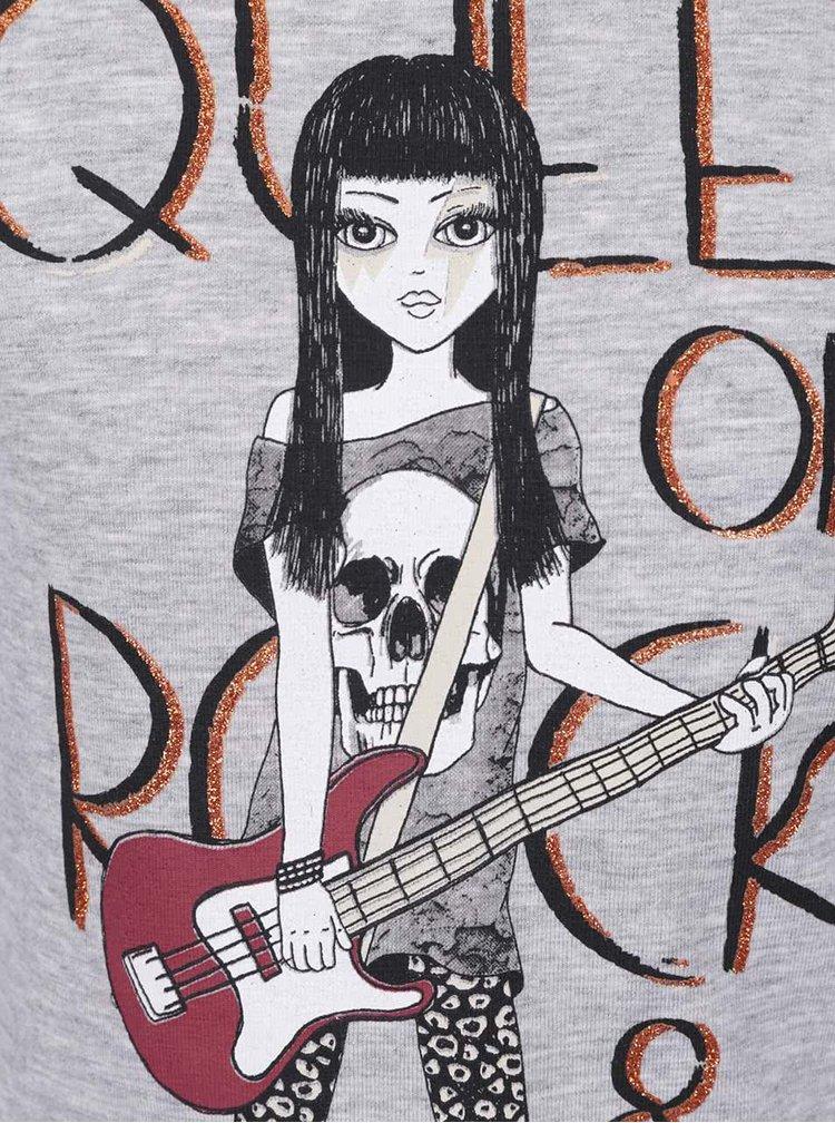 Sivé dievčenské tričko s dlhým rukávom Mix´n Match
