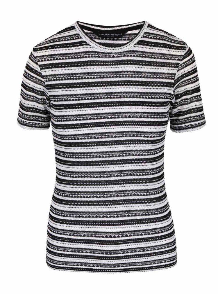 Krémovo-černé vzorované tričko Dorothy Perkins