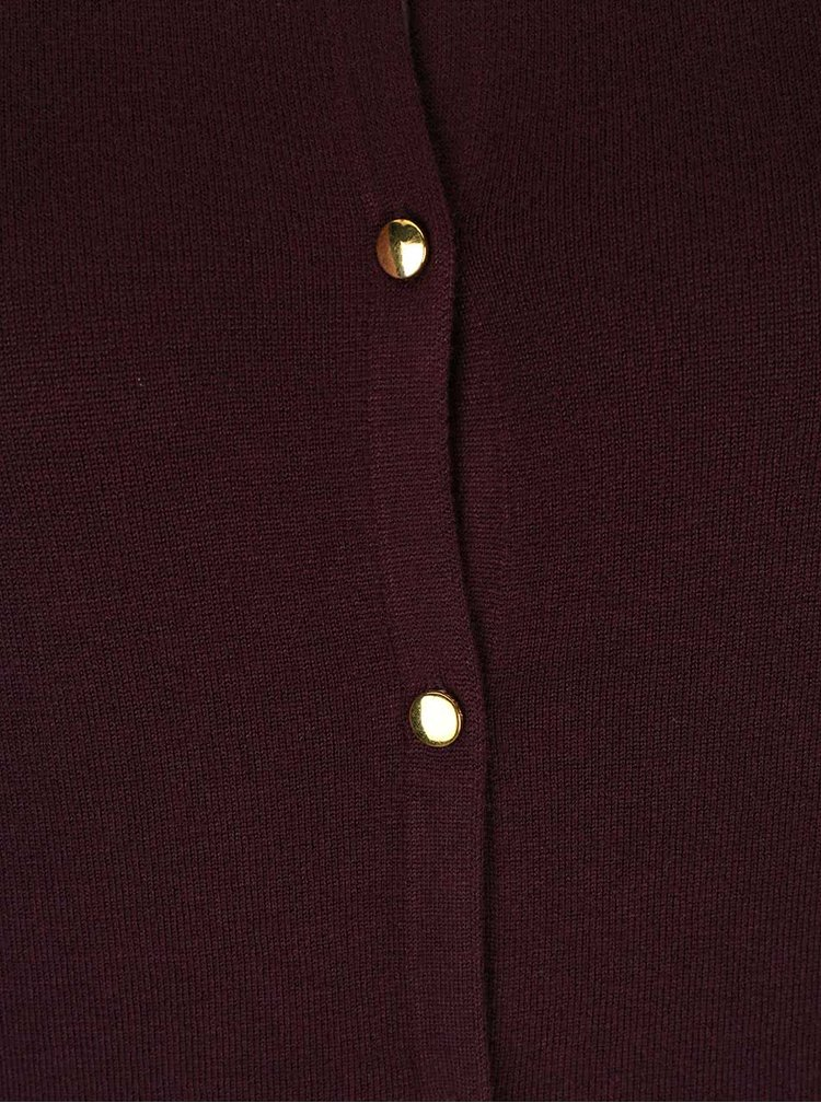 Tmavovínový sveter s gombíkmi v zlatej farbe Dorothy Perkins