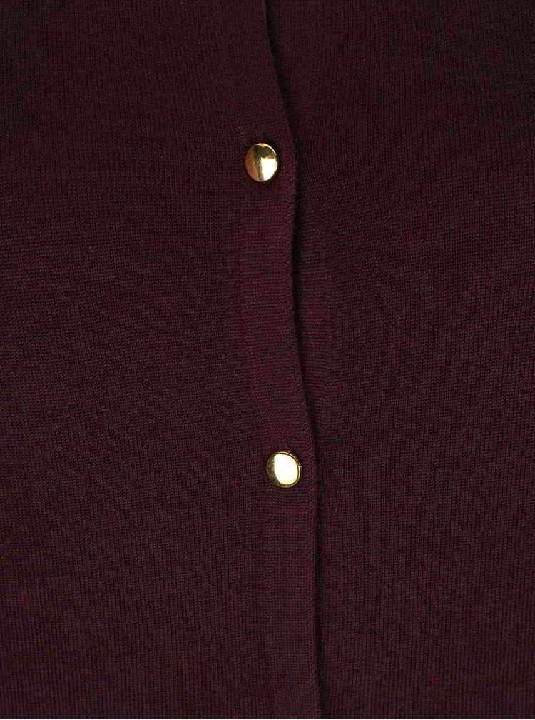 Tmavě vínový svetr s knoflíky zlaté barvě Dorothy Perkins