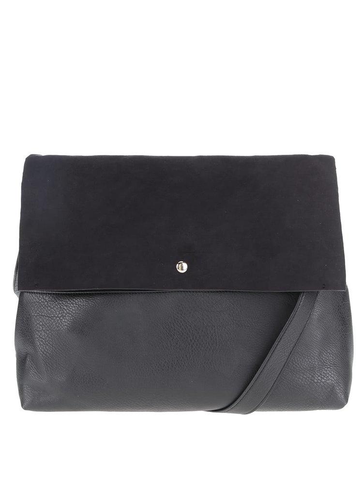 Čierna kabelka s chlopňou v semišovej úprave Dorothy Perkins