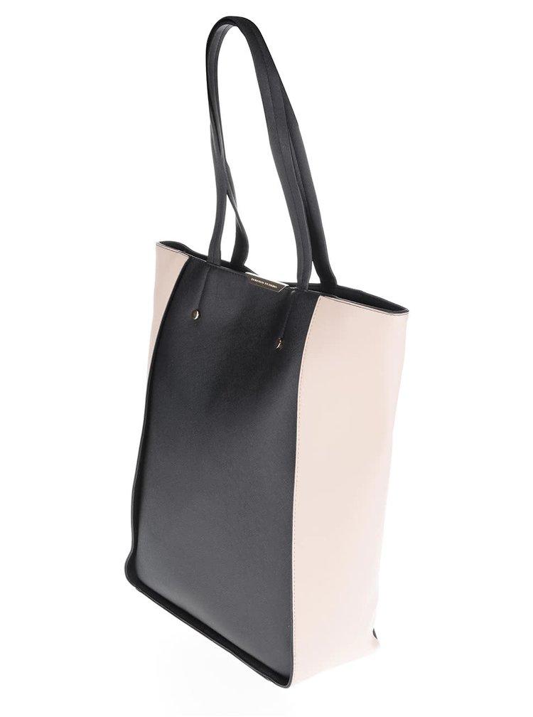 Béžovo-černý koženkový shopper Dorothy Perkins