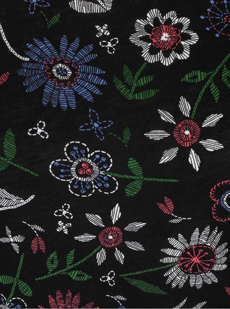 Čierne kvetované tričko s 3/4 rukávmi Dorothy Perkins