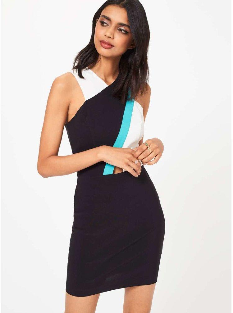 Černé strečové šaty s atypickým topem Miss Selfridge