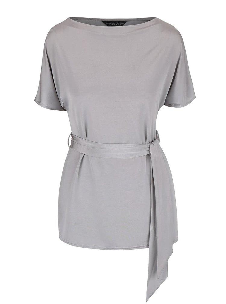 Sivé dlhšie lesklé tričko s viazankou Dorothy Perkins
