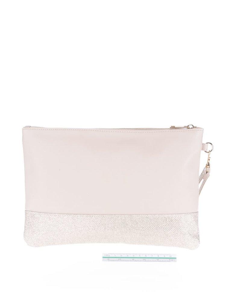 Béžová obdĺžniková listová kabelka s trblietavými detailmi Dorothy Perkins