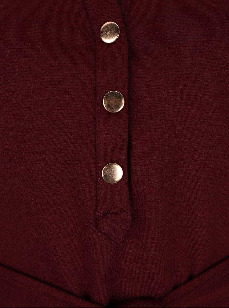Vínové šaty s páskem Dorothy Perkins
